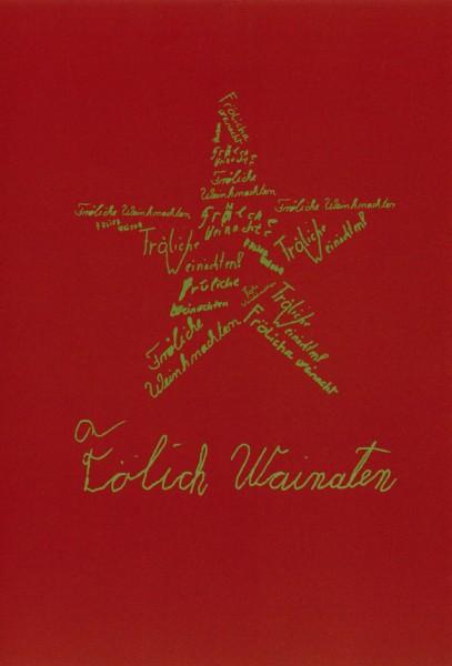 Weihnachtskarte Stern (Faltkarte A5, gold auf rot)