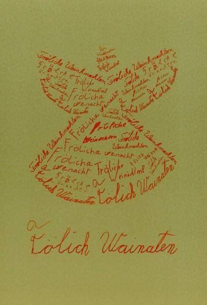 Weihnachtskarte Engel (Faltkarte A5 rot auf gold)