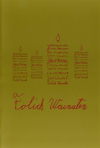 Weihnachtskarte Kerzen (Faltkarte A5 rot auf gold)
