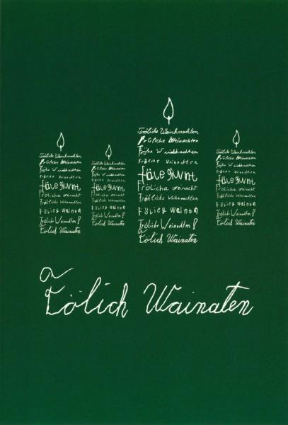 Weihnachtskarte Kerzen (Faltkarte A5 weiß auf grün)